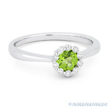 0.52ct Round Cut Green Peridot Gem & Diamond Halo Promise Ring in 14k White Gold