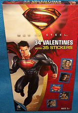 Valentines Day Cards (Box of 34) Superman Man of Steel with Stickers
