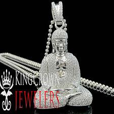 10K White Gold On Sterling Silver Lab Diamonds Meditating Buddha Pendant 2.15''