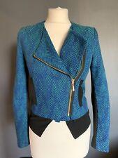 River Island Blue Biker Style Jacket Size 6