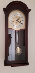 RAPPORT ENGLAND VINTAGE 8 DAY MECHANICAL WESTMINSTER WALL CLOCK COLLECTION ONLY