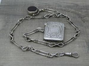 Antique English Sterling Silver Fancy Albert Watch Chain, Vesta & Spinner Fob