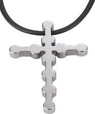 Men's Tungsten Carbide Cross Necklace With Black Cord