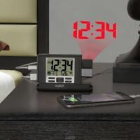 The La Crosse Technology Travel Projection Alarm Clock Black Backlight LCD