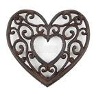 Heart Shaped Trivet Cast Iron Rustic Antique Style Hot Pot Plate Holder Scrolls