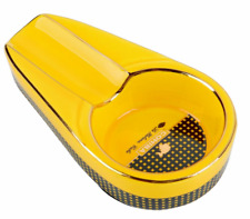 COHIBA Ceramic Cigar Yellow Ashtray Size Small Mini 1 Cigar Slot Holder ID976