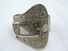Vintage Chinese silver buckle bangle bracelet high quality silver bamboo dec'n