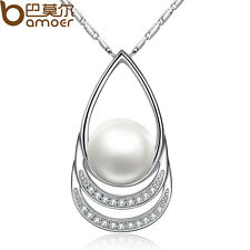 Elegant Silver Necklace With AAA Zircon Pearl Drop Pendants For Christmas Womens