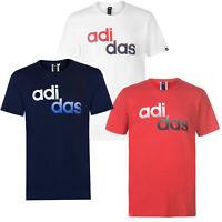 Adidas Herren T-Shirt Tee Shirt Kurzarm Baumwolle Logo Staggered QT92 S-2XL