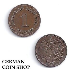 1 Pfennig 1890 - 1916 A D E F G J Kaiserreich Kupfer