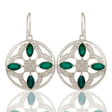 Green Onyx Gemstone 925 Silver Designer Dangle Earrings Women's Jewelry