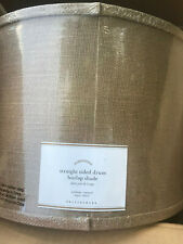 Pottery Barn Burlap Straight-Sided Lamp Shade Taped Edge Natural NEW