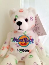 Hard Rock Cafe London England 8 inch Plush Peace Symbol Beanie Bear 2005
