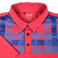 Adidas Clima Cool Coral Red Blue Plaid Athletic Golf Polo Shirt Mens Large L