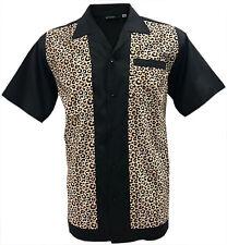 Rockabilly Fashions Men's Shirt Retro Vintage Bowling 1950 1960 Leopard Print