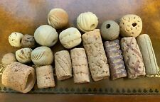 Vintage Antique?? 19 Tribal Terra Cotta Clay Beads Mixed Assortment Handmade