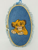 Vintage 1995 Handmade Denim Backed Sewn Embroidered Applique Lion King Simba
