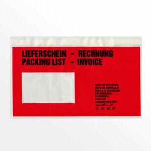 500 x Liefscheintaschen / Dokumententaschen Begleitpapiertaschen Rot DIN Lang