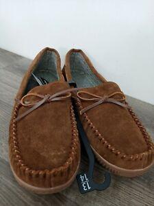George Men's Trapper Moccasin Slipper (Genuine Leather)  13-14