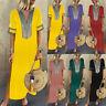 Women Summer Beach Boho V Neck Split Dress Ladies Loose Long Maxi Kaftan Dresses
