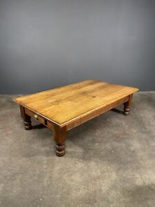 Huge Early 20th Century Solid Oak Coffee Table With Drawers