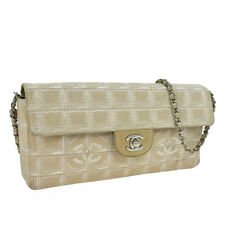 Auth CHANEL Quilted Travel Line Chain Shoulder Bag Beige Jacquard Nylon F01483
