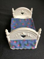 Fisher Price Loving Family Dollhouse bed jumping on the bed white floral cover