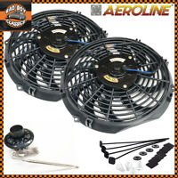 "12"" Aeroline® 120w Electric Radiator Intercooler 12v Slimline Cooling Fan x2"