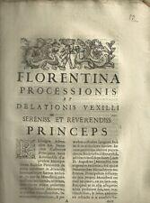 Florentina Processionis Documento Settecentesco contro la Badia Fiorentina 1704