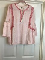 Style & Co. Womens Tunic Top Peach Orange Size Medium  Embroidered