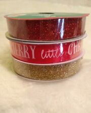 """Christmas Decorative Ribbon 5/8 """" x 9' Lot Of 3 Red Gold Glitter and Other New"""