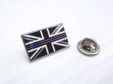 THIN BLUE LINE UNION JACK UK GB POLICE OFFICER MOURNING BAND LAPEL PIN BADGE TIE