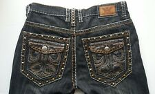 VICTORIOUS Men's Jeans 34X30 Blue Gray Brown Leather Straight Leg