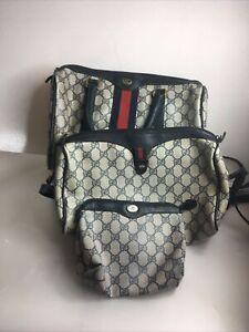 Vintage Gucci Handbag Set GG Monogram Blue Leather Authentic