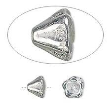3044 Glass Czech Flower Cone Beads Silver PK10 8mm Opaque *UK EBAY SHOP*