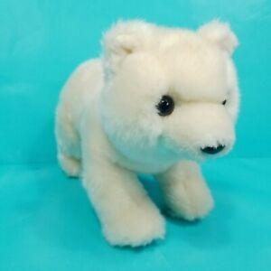 "Aurora Polar Bear Slushy Off White Plush 9"" Baby Cub Stuffed Animal Black Nose"