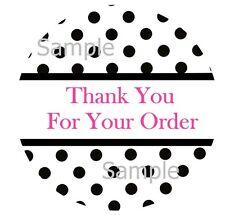 Thank You Black Polka Dots Design 2 1 Inch Sticker Labels