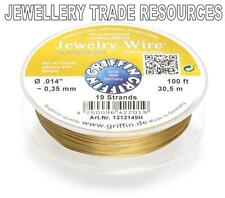 """GRIFFIN GOLD PLATED STEEL BEADING JEWELRY WIRE .014"""" / 0.35mm 100 FT. 19 STRAND"""