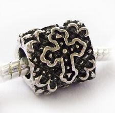 Antique Silver Pt Crucifix Cross Spacer Charm Bead Fits European Style Bracelets