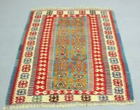 Nomadic Turkish Hand Knotted Kilim Area Rug Anatolian Ethnic Wool Carpet 4x5 ft.