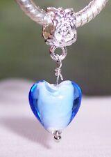 Blue White Glass Heart Dangle Bead fits Silver European Style Charm Bracelets