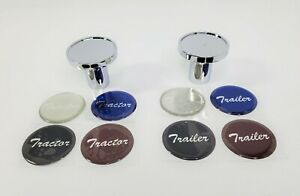 Chrome Tractor Trailer Air Brake Valve Knobs - Blue, Red, Silver, Black Set