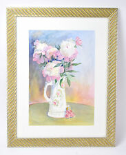 Original Watercolor Floral Still Life Pitcher Doll Ill. Artist Laureate Smith