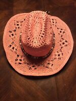 71b2a278b7f24 Womens Turner Hat Company Pink Recycled Paper Cowboy Hat Beach Wear One  Size Fit