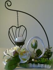 HANGING HEART SHAPE CANDLE HOLDER WITH ROSE FLOWER Gift Wedding Xmas Birthday
