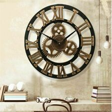 Wall Clock Retro Gear Hanging 3D Large Classic Vintage Wooden Style Decor Numera