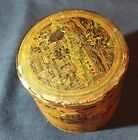 Burmese Asian Red Lacquer Hand Painted Betel Box RARE ANTIQUE 7 x 6 1/2 inches