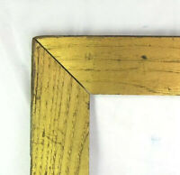 "ANTIQUE FITS 13""x 30"" OAK GOLD GILT  PICTURE FRAME COUNTRY PRIMITIVE FINE ART"