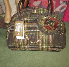 NWT $250 Rare JUICY COUTURE Tartan Plaid CORSAGE Wool CHAIN Bowler Handbag