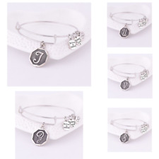 Alex and Ani Expandable Silver Plated Bracelet Bangle Retired A-Z Initial Letter